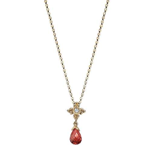 Charms - 14K Yg Pendant With Briolette Cut Garnet And Diamond Accent