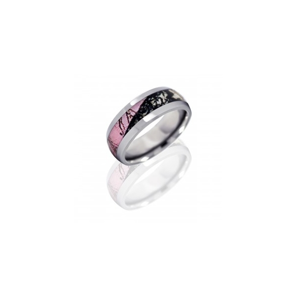 TUNSTEN, TITANIUM, COBALT RINGS - TITANIUM 8MM PINK BREAKUP CAMO RING-SIZE 7