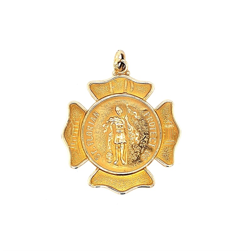 Gold Medal - 14KT YELLOW GOLD ST. FLORIAN MEDAL 25 MM
