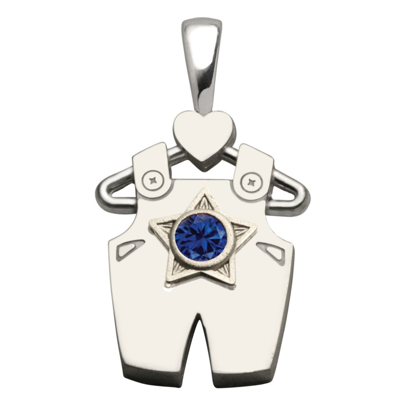 Silver Pendant - Boy Sterling Silver All-star birthstone Pendant - Synthetic Sapphire gemstone