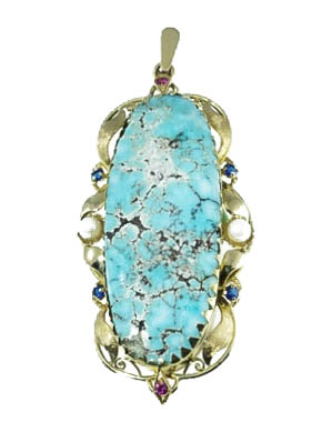 18K Turquoise Pendant with Pearls, Sapphires and Rubies - 18 K yelloew gold Turquoise pendant with pearls, sapphires and rubies.