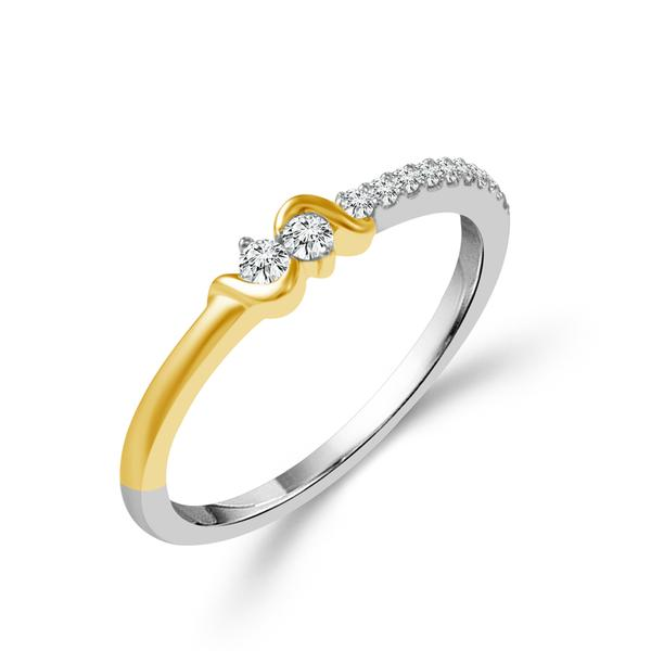 Anniversary Rings - Two Tone 1/8ctw Stackable Dia Band