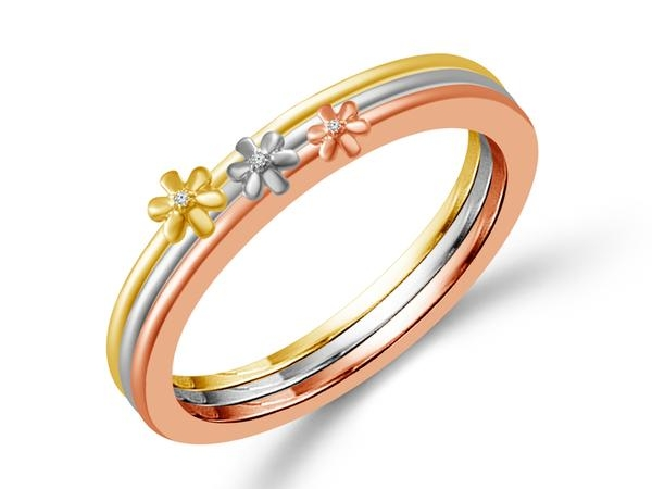 Anniversary Rings - 10k Tri-Color .018ctw Stackable Band