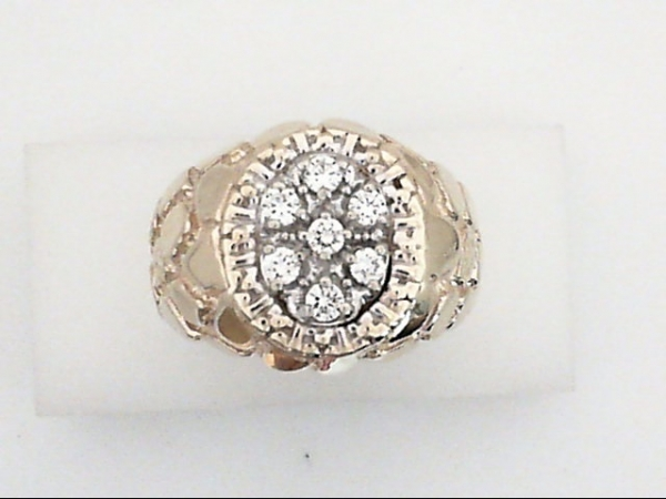 Gents Ring - 10ky Gents nugget.70 oval cluster dia ring