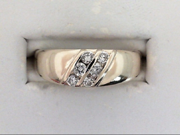 Gents Ring - 14KY 7mm channel set 6 dia band .25ctw