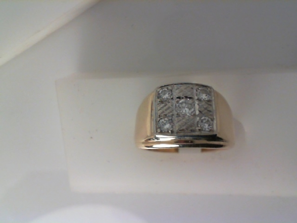 Gents Ring - 14KY .22ctw checkerboard cluster