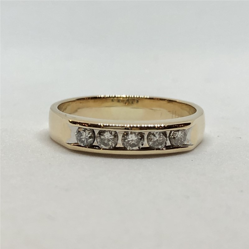 Gents Ring - 14KY 5 dia gents .35ctw channel set band