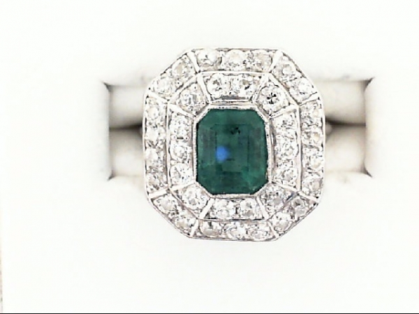Ring - plat eme cut emerald w/ double dia halo .72ctw