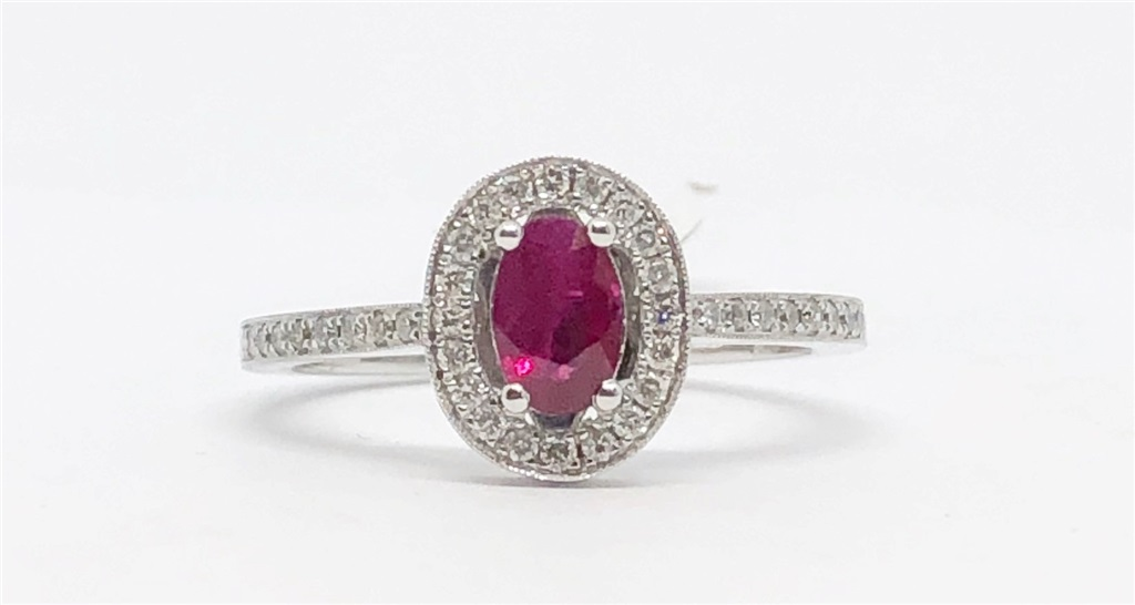Ring - 14kw 36D = .19ctw w/ 1C=.50ct Ruby Ring