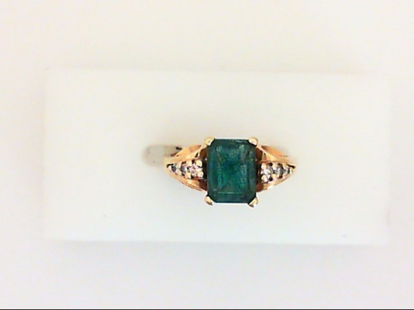Ring - 14KY emerald cut 8mm x 6mm emerald and .10ctw diamond