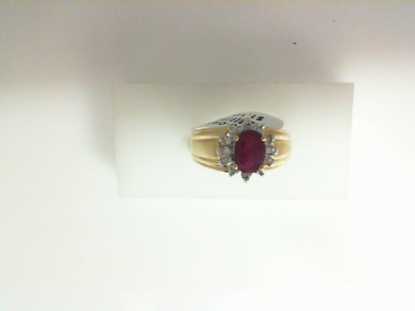 Ring - 14KY 8mm x 6mm oval ruby and .10ctw diamond ring