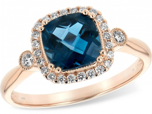 Ring - 14k Rose 1.62ct London Blue Topaz & .16ctw Dia Ring