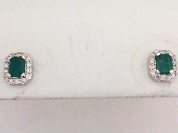 Earrings - 14kw .37ctw Emeralds w/ .17ctw Dia Earrings