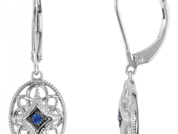 Earrings - SS Sapphire Dangle Filigree Earrings