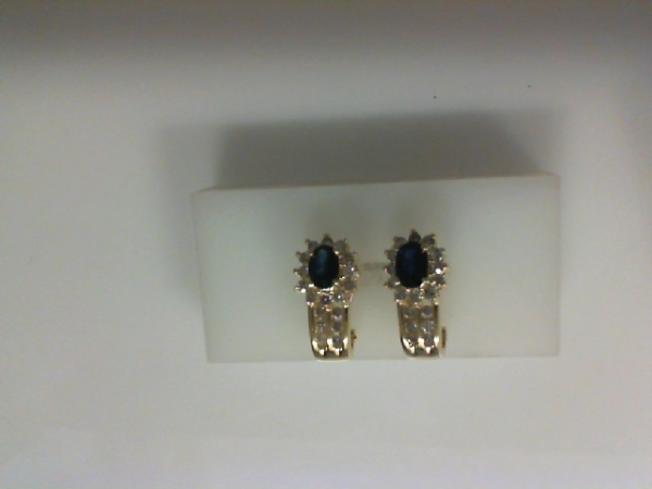 Earrings - 14KY oval sapphire and .50ctw diamond earrings with french clips