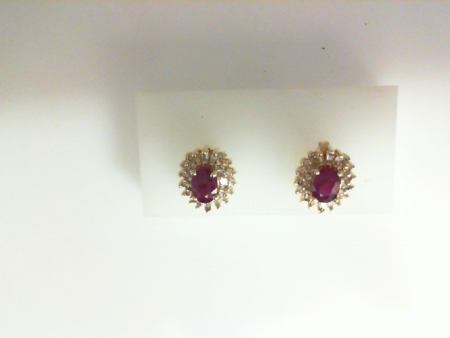 Earrings - 14KY oval ruby and diamond .50ctw earrings