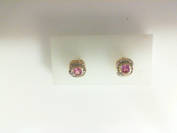 Earrings - 14KY pink tourmaline and .40ctw diamond earrings