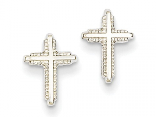 Gold Earrings - 14kw Gold Polished Cross Post Earrings