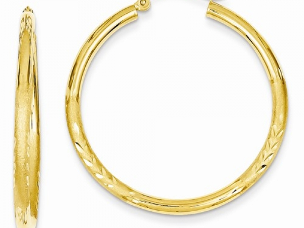 Gold Earrings - 14K Satin & Dia Cut 2.5mm Rd Hoop Earrings
