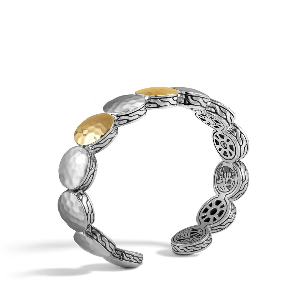 Gold Bracelet - Dot Gold & Silver Three Station Flex Cuff