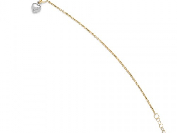 Gold Bracelet - 14k Two Tone Heart Anklet w/ 1