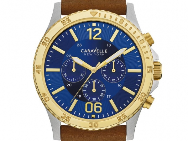Watch - Gents Leather Band Blue Face Chrono Watch