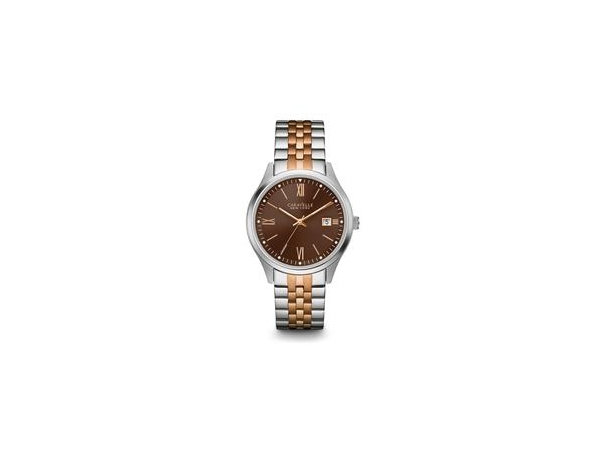 Watch - Gents Two Tone Rose/White Metal Watch w/ Brown Face