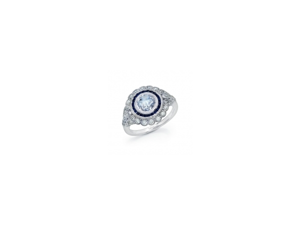 Sterling Silver Ring - SS CZ Round Heritage Ring Blue & Clear Stones