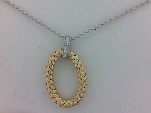 Pendant/Necklace - SS Woven Ravello Oval Pendant w/ CZ 18k YG Finish