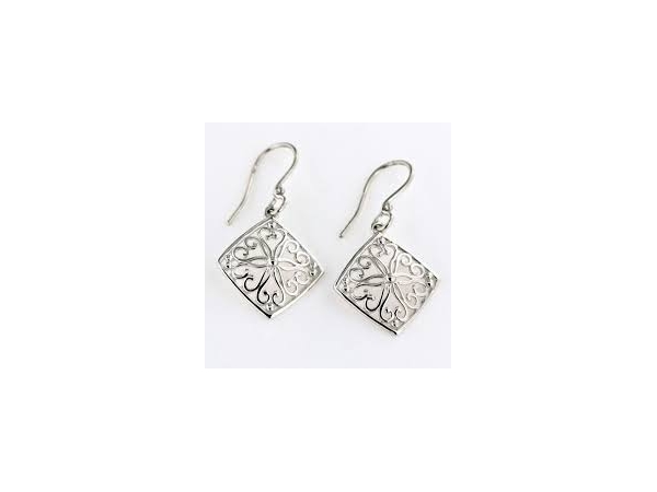 Sterling Silver Earrings - Er Square 15X15