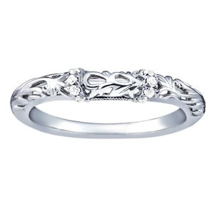 Ladies Wedding Band - 14K WG 1/20 cttw SI1-SI2 G/H
