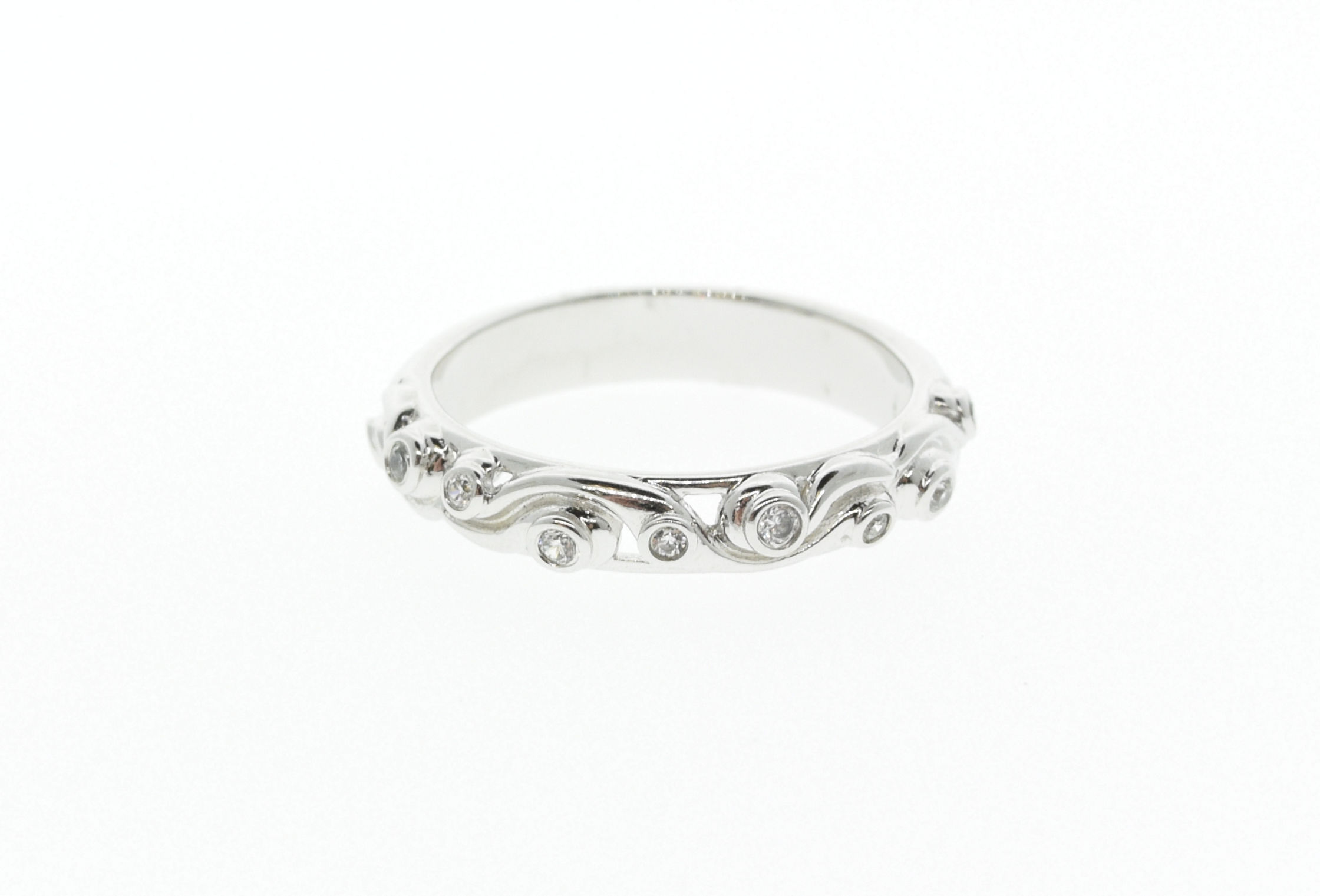 14kt WG 1/10 ct SI1 G/H Swirly Band - 14kt WG 1/10 ct SI1 G/H Swirly Band  Matching Ring is 140-00776