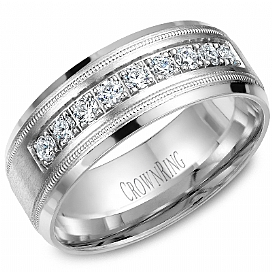 Gents White Gold 8mm Band with 1/2 ctw - 14K White Gold 8mm Wedding Band 1/2 ctw SI1 G/H