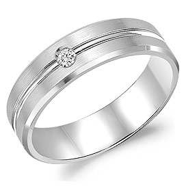 Gents White Gold 6mm Band .05 ctw - 14K White Gold 6mm Band .05 ctw SI1 G/H