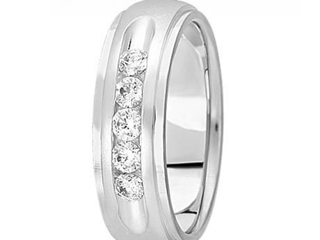 Classic 1/2 ctw Channel Set Diamond Band - 14K White Gold 7mm 1/2 ctw Channel Diamond Band SI1 G/H