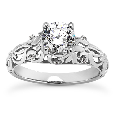 Filigree engagement ring - 14K WG .06 ctw SI1 G/H Filigree Design Semi Mount