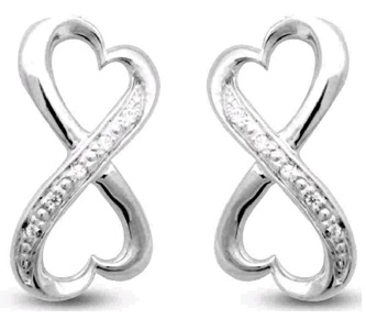 10k WG .03 ctw Double Heart Post Earrings - 10k WG .03 ctw Dbl Heart Post Earrings