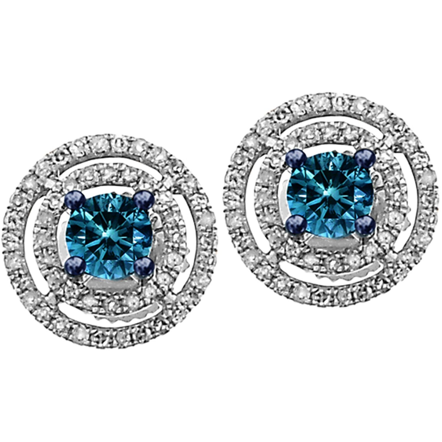 14K WG 1/2 ctw White/Blue Diamond Post Earrings - 14K WG 1/2 ctw Wht/Blue Diamond Post Earrings