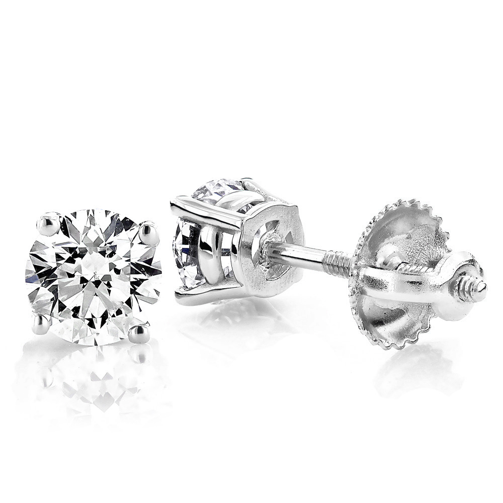 14K White Gold 3/4 ctw 4 prong solitaire earrings I1 JK - 14K WG 3/4 ctw 4 prong solitaire earrings I1 JK