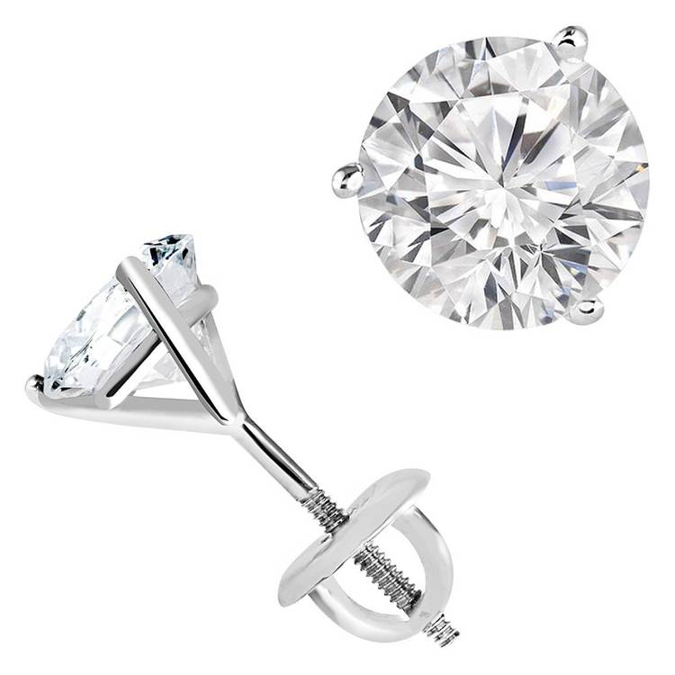 14K WG 3/4 ctw martini solitaire earrings SI2/SI3 HI - 14K WG 3/4 ctw martini solitaire earrings SI2/SI3 HI