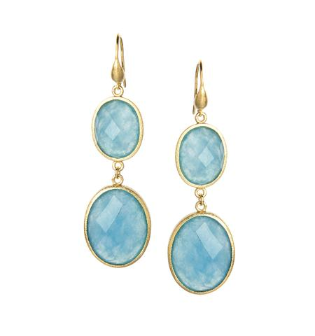 18K Clad Caribbean Blue Quartzite Earrings - 18K Clad Caribbean Blue Quartzite Earrings