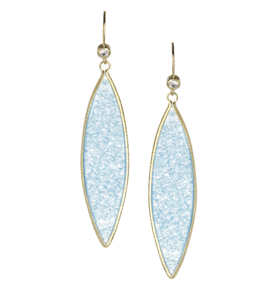 18K Clad Long Caribbean Blue Quartzite Earrings - 18K Clad Long Caribbean Blue Quartzite Earrings