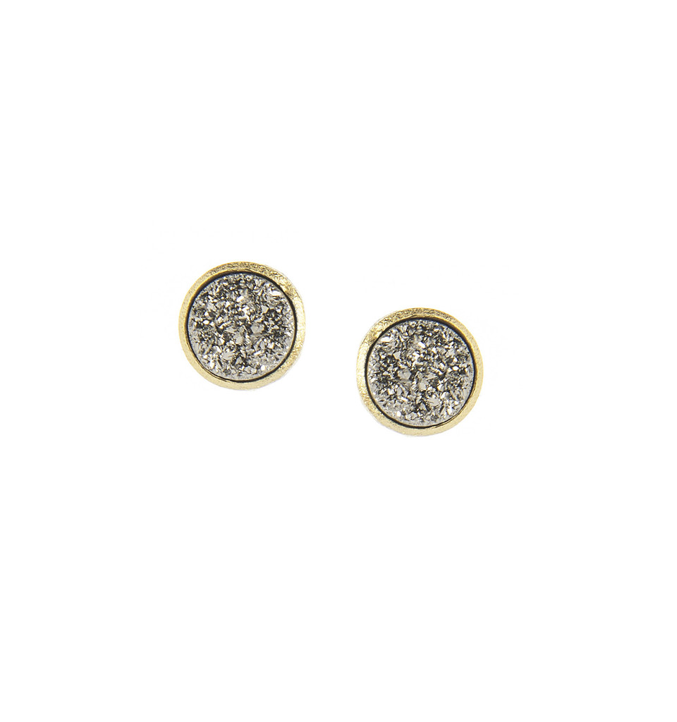 Platinum Clad Druzy Post Earrings - Platinum Clad Druzy Post Earrings