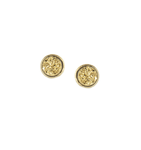 18K YG Clad Gold Druzy Ear Post Earrings - 18K YG Clad Gold Druzy Ear Post Earrings