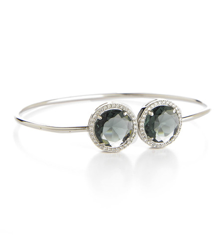 Rhodium Plated Grey Crystal Bangle Bracelet - Rhodium Plated Grey Crystal Bangle Bracelet