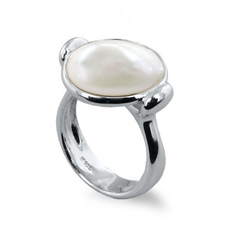 Sterling Round Baroque Coin Pearl Ring - Sterling 14-15mm Round Baroque Coin Pearl Ring