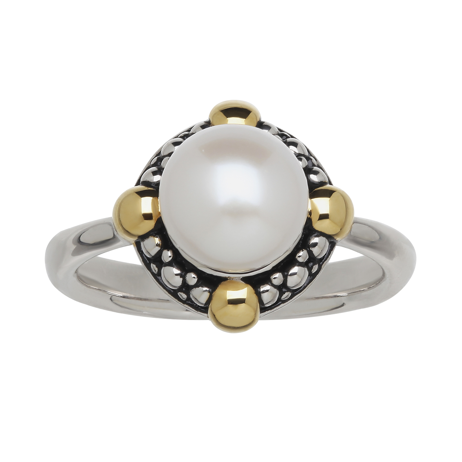 Solitaire Pearl with Beaded Design Ring - Sterling 8-8.5mm Fresh Water Cultured Pearl Beaded Design Ring