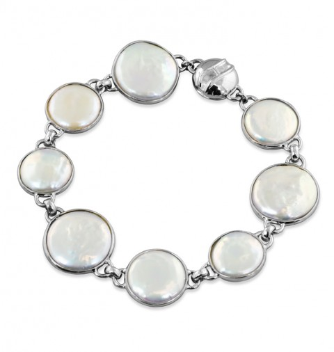 Coin Pearl Bracelet with Magnetic Clasp - Sterling White Coin Fresh Water Cultured Pearl Cloud Bracelet Magnetic Clasp