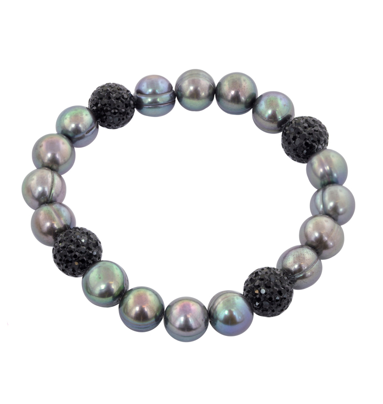 Black Pearls with Crystal Beads Stretch Bracelet - Sterling 9-10mm Black Fresh Water Cultured Pearl w/Crystal Beads
