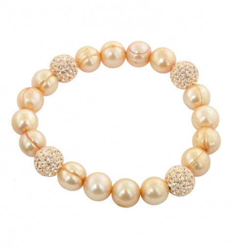 Champagne Pearl and Crystal Bead Stretch Bracelet - Ster 9-10mm Champagne Fresh Water Cultured Pearl with Crystal Beads